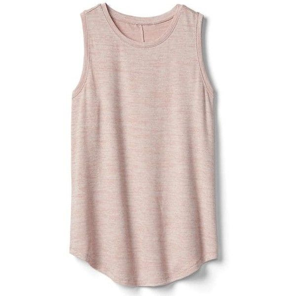 Gap Women Softspun Knit Muscle Tank ($30) ❤ liked on Polyvore featuring tops, shirts, tank tops, tanks, pink, regular, sleeveless shirts, muscle tank, pink tank top and crew shirt