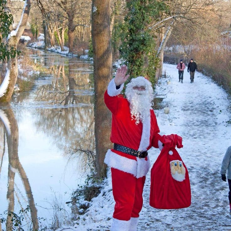 Santa cruises on the Wey and Arun Canal at Loxwood, West Sussex.