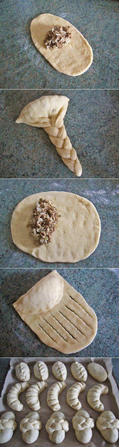 Пирожки разных видов формовки с рисово-мясной начинкой : Выпечка несладкая