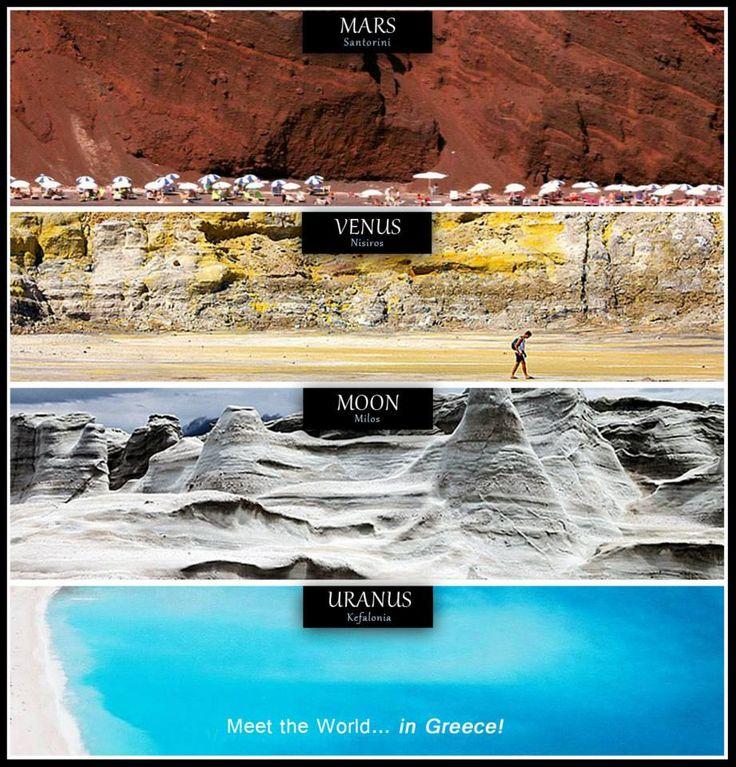 Meet the World... in Greece! #Mars = Santorini, #Venus = Nisiros, #Moon = Milos, Uranus = Kefalonia.