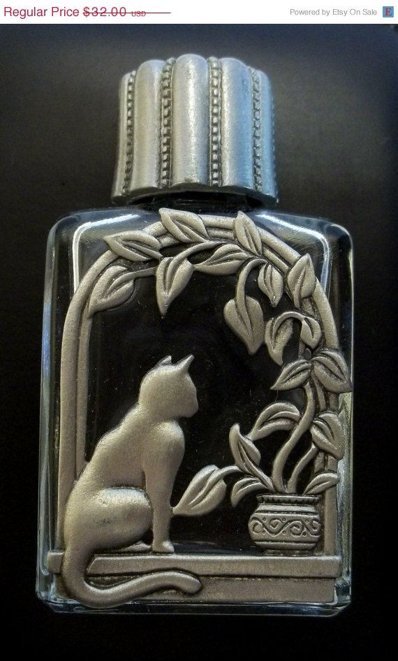 Cat JJ Perfume Bottle Jonette vintage pewter by dollherup on Etsy