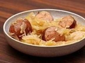 Sweet and simple! Granny's Polish Sausage with Sauerkraut Recipe | Just A Pinch Recipes