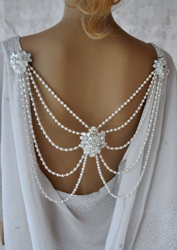 Gatsby jewelry  vintage wedding 1920's jewelry  Back Pearl Crystal Necklace Swarovski  bridal back wedding necklace body shoulder Jewelry
