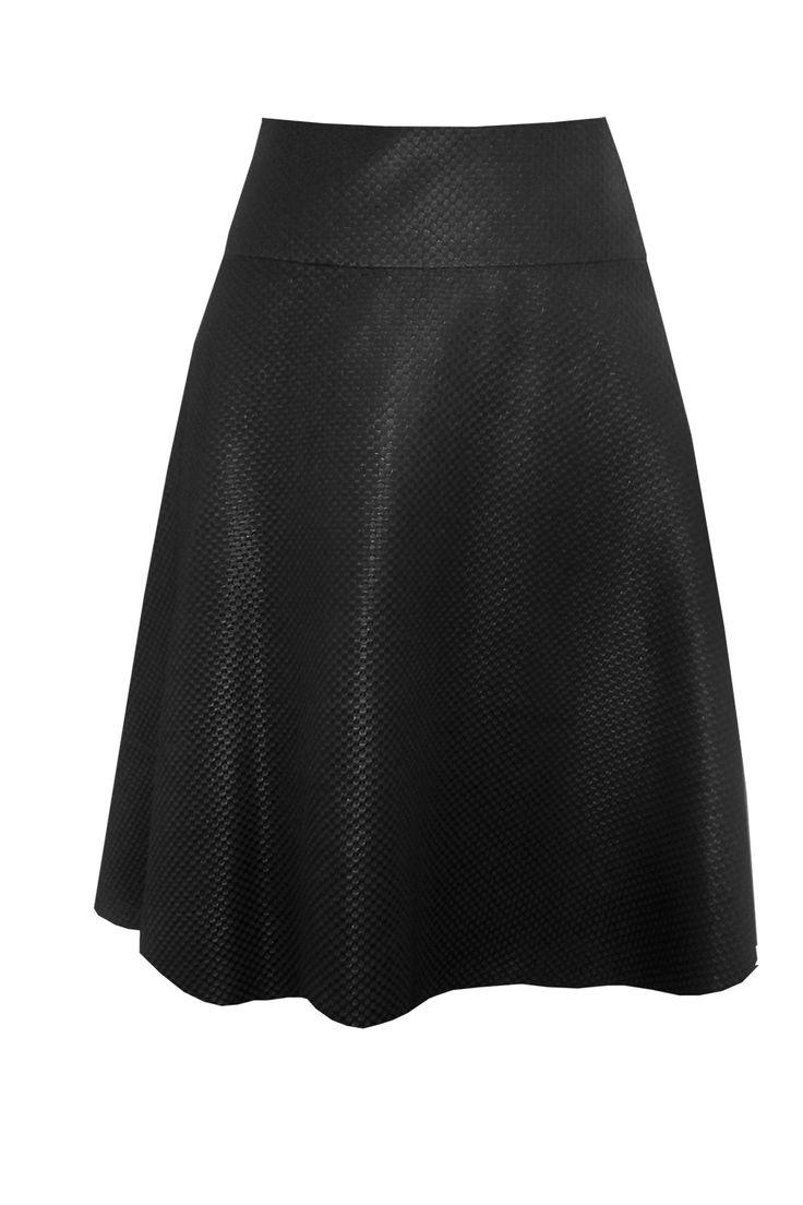 Spódnica klosz czarna kostka Semper #fashion #semper #inspirations #outfit #skirt