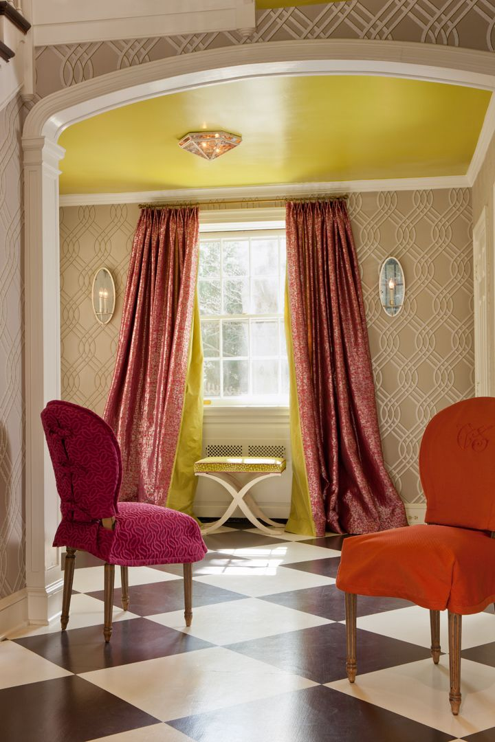 Camille Saum included Niermann Weeks Concorde Ceiling Fixture & Paris Oval Sconces in this bright & cheery space.  niermannweeks.com #NiermannWeeks