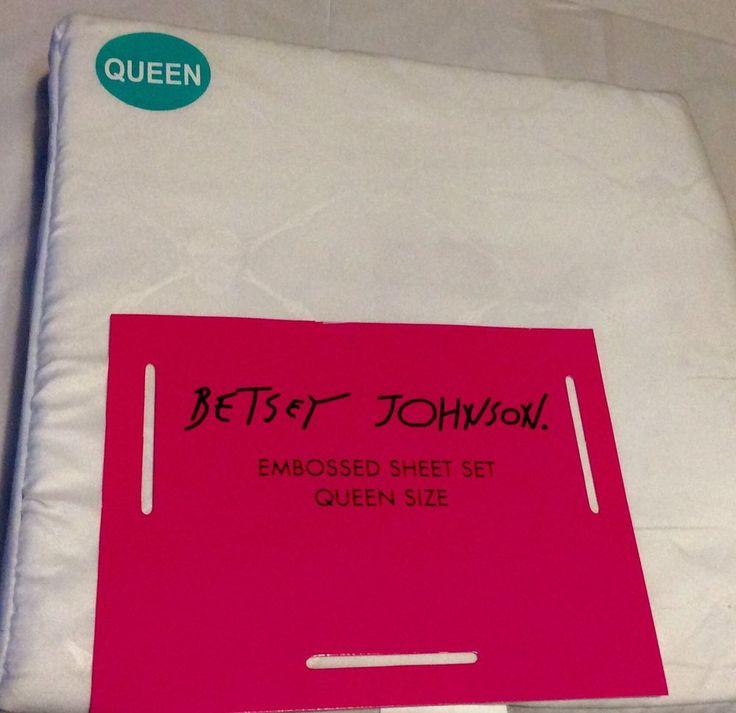 Betsey Johnson Embossed Skull Trellis Queen Size Sheet Set White 883893449435 | eBay