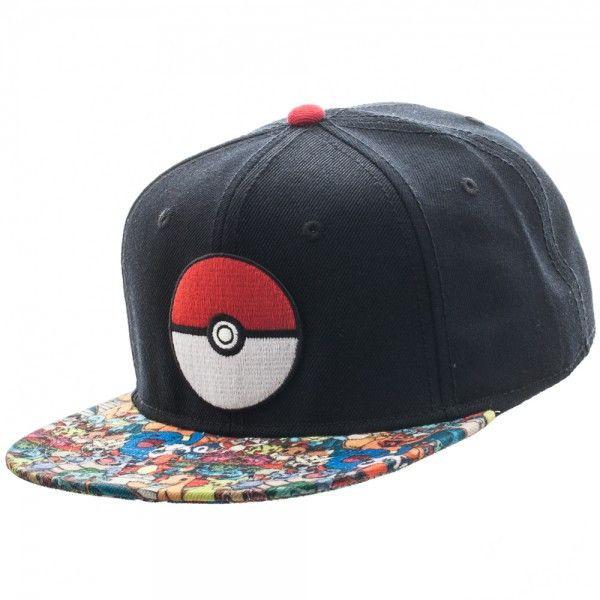 Pokeball Sublimated Bill Snapback Pokemon Hat Headwear: Pokemon - Pokeball Sublimated Bill Snapback