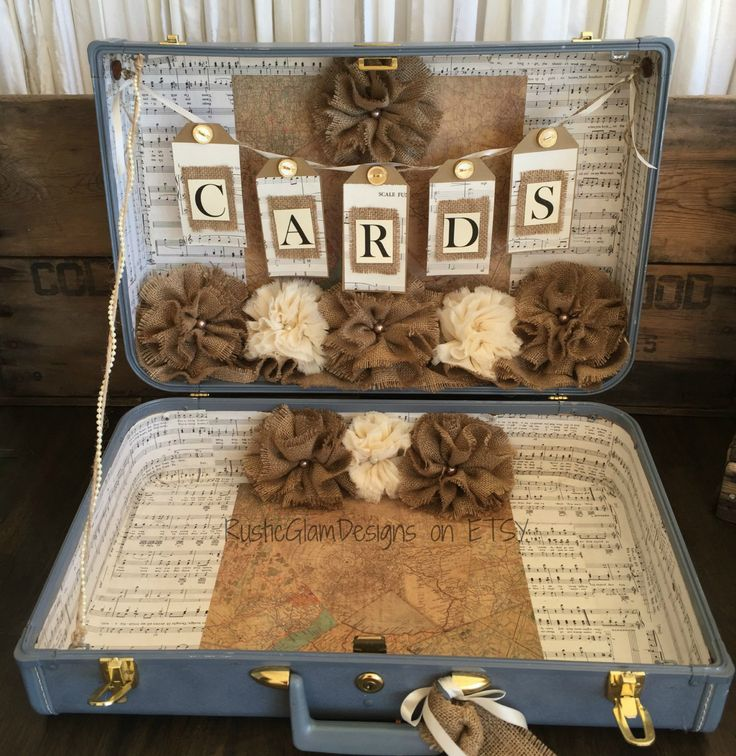 wedding gift card holders%0A Vintage Suitcase Wedding Card Holder Rustic Wedding gift table card box  Country Wedding by RusticGlamDesigns on