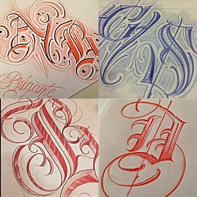 Different Initials Sketch Graffiti Lettering Chicano Lettering