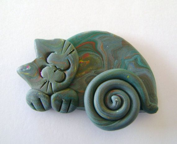 sleeping Cat in Marbled greys Brooch Pin or Magnet  by Coloraudia
