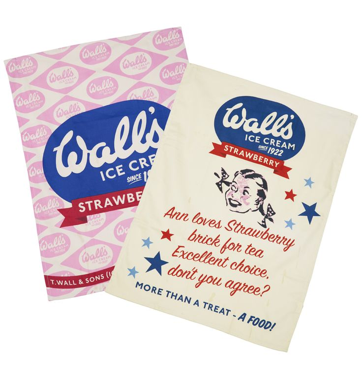 Pack Of Two Vintage Walls Ice Cream Tea Towels xoxo