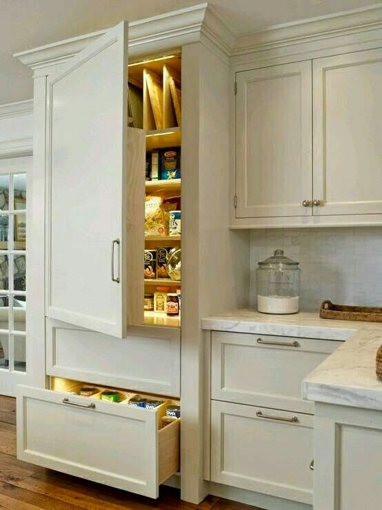 Really like the idea of blending the fridge in to the cabinets.