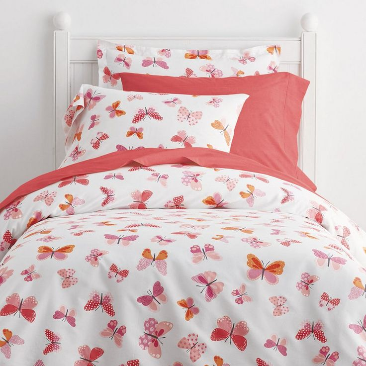 Butterfly Wings Percale Bedding - Butterflies flutter by on our crisp, 200-thread count cotton percale kids' bedding in bright shades of tangerine, fuchsia and pink for a look that's fun and girly. Available exclusively at Company Kids®.
