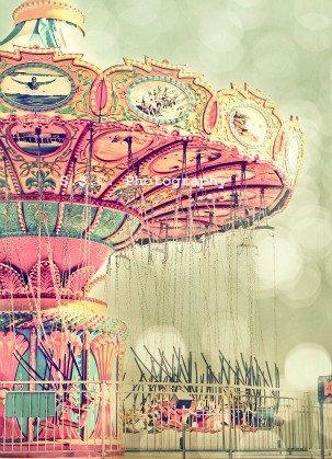 """Carnival Photo. Swings. """"Swing Time"""". 8.5x11inch Photo. Dreamy. girly. Pink. Green. Pale. Pastel. Bokeh. fair. Nursery Art. Mint. Blue. Cute"""