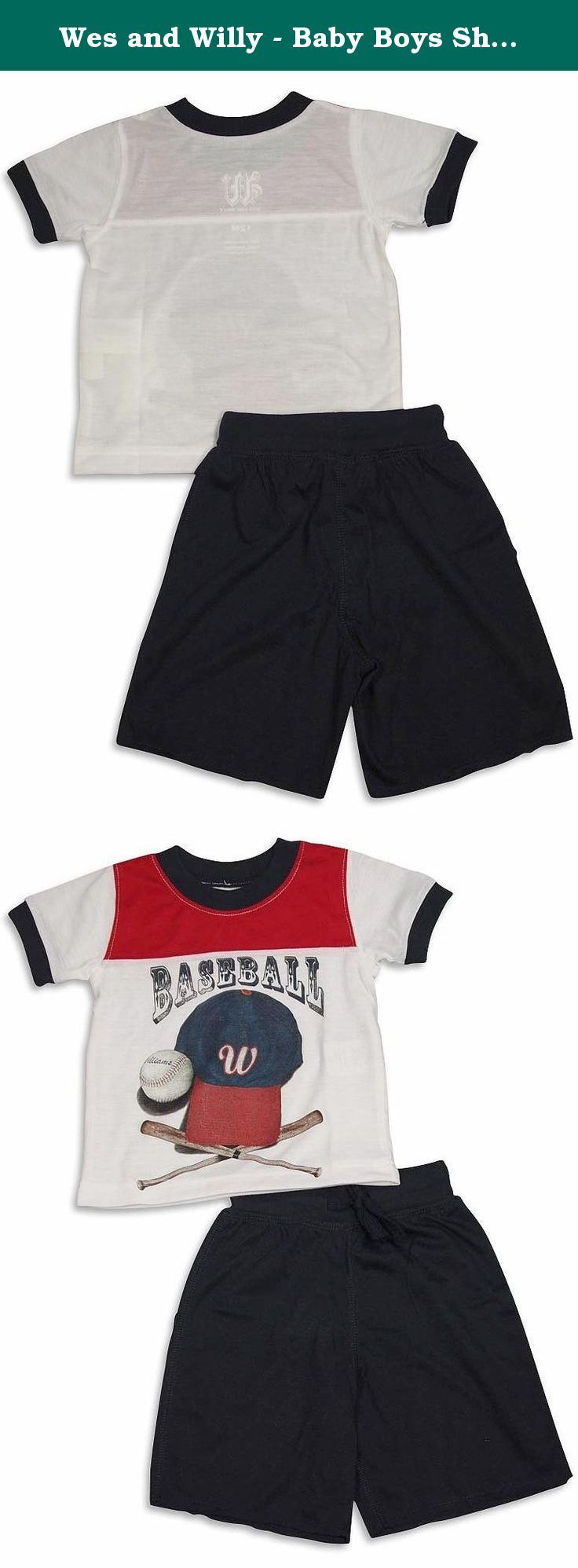 Wes and Willy - Baby Boys Short Sleeve Shortie Pajamas, Red, White, Navy 29126-12Months. Wes and Willy - Infant Boys Short Sleeve Shortie Pajamas, Red, White, Navy, Short Sleeve Top, Ribbed Neck and Sleevebands, Colorblocked, BASEBALL With Graphic, Full Elastic Wide Ribbed Waistband Short With Drawstring Tie, Cut Hem, Flame Resistant, 100% Polyester, Made In China, #29126 29-126.