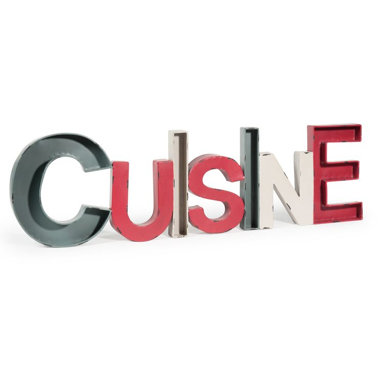 dco murale en mtal rouge grise et crme l 91 cm cuisine - Cuisine Taupe Claire Et Mur Eb