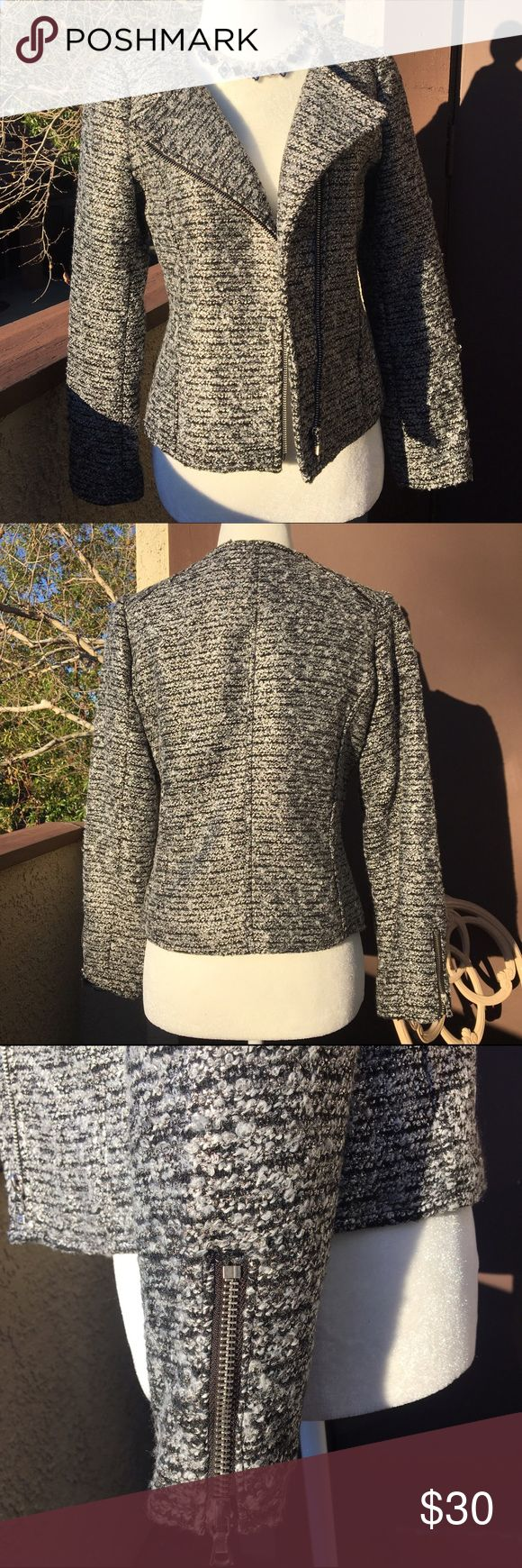 H&M Boucle Moto Jacket Blazer Excellent condition! Beautiful moto style blazer with zipper sleeves. Worn only once. Note that H&M clothing runs a little small. I would say it's more of a size 4. H&M Jackets & Coats Blazers