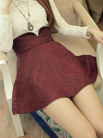 Feminine Short Copper Red Textured Skirt (w/ White Lace Top) (<3 the look, but site lacks info)
