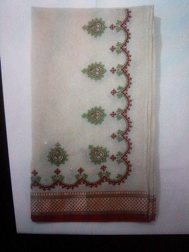 Kutch embroidery dupatta with golden badla work