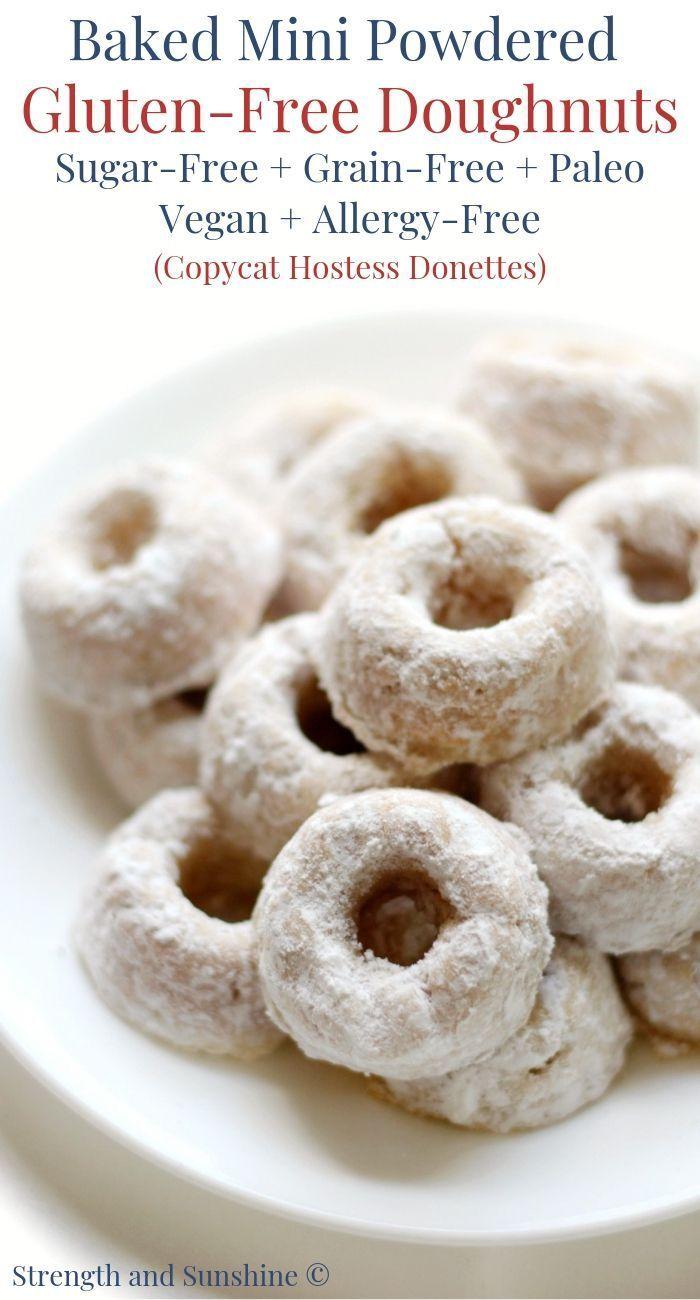 Gluten Free Baked Mini Powdered Doughnuts Sugar Free Paleo