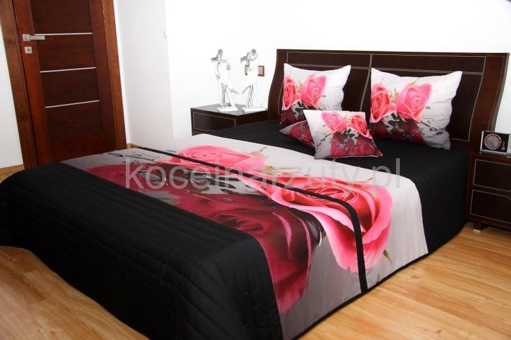 Narzuta 3D na łóżko w kolorze czarnym z różą