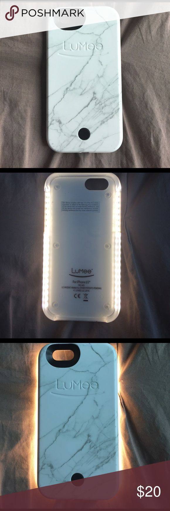 LuMee White Marble Case Kim Kardashian approved white marble LuMee front lit cell phone case. Fits 6s (although I also used it for my iPhone 6.) Gorgeous design. A few scratches around the edge. Comes with charger (it has its own battery so it doesn't use your phone charge). It's a selfie and FaceTime game changer! LuMee Accessories Phone Cases