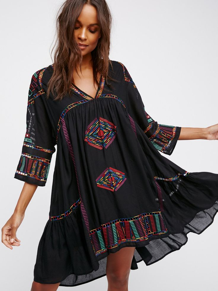 Greenpoint Mini Dress | Boho-inspired shapeless mini dress featuring beautiful embroidery throughout. * Separate slip with adjustable straps * Lightweight, semi-sheer fabrication * Back keyhole cutout