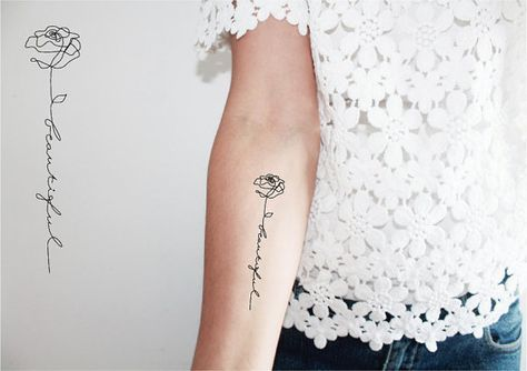 2 tatoeages tijdelijke woord beautiful / word tattoo /