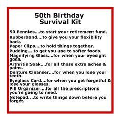 Survival Kits with cute sayings | 50 th birthday survival kit