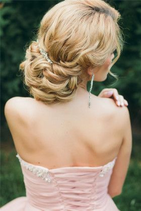 low wedding updo hairstyle for long hair