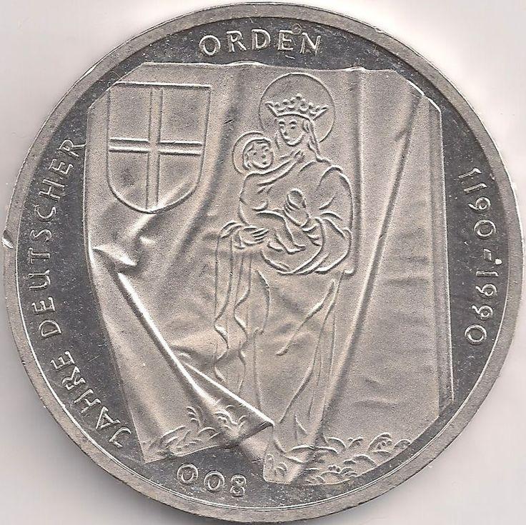 Motivseite: Münze-Europa-Mitteleuropa-Deutschland-Deutsche-Mark-10.00-1990-Deutscher Orden
