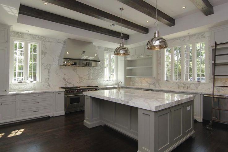 kitchens - polished nickel pendants hood white kitchen cabinets gray kitchen island espresso stained box beams hardwood floors  White & gray