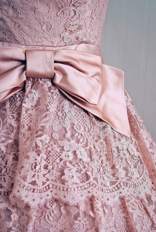 Pink lace & bow! Soft, delicate, classic! :: Lovely in Lace:: Soft Pink Lace Dress with Bow:: Vintage Fashion:: Lace