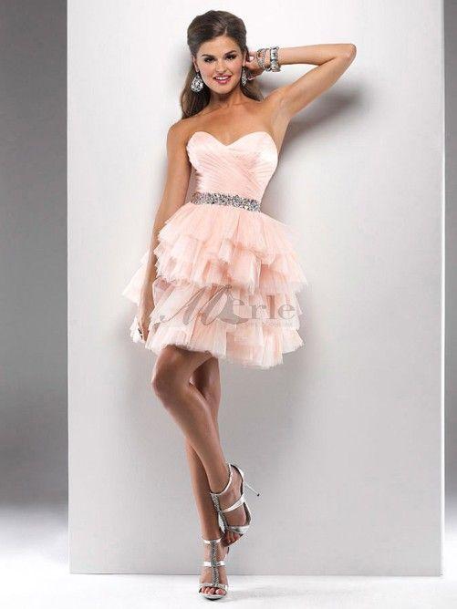 Ruffle jupe robe de bal robe de soirée courte / Mini chérie Organza