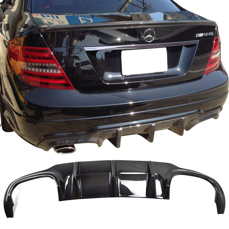 Rear Diffuser Fits 2012-2014 Benz C-Class | Carbon Fiber CF Rear Bumper Diffuser Air Dam Chin Protector Lip Other Color Available By IKON MOTORSPORTS | 2013