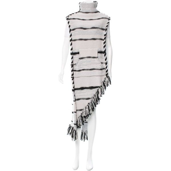 Pre-owned Baja East Striped Cashmere Poncho ($975) ❤ liked on Polyvore featuring outerwear, black, baja east, turtleneck ponchos, striped turtleneck top, turtleneck top and cashmere ponchos