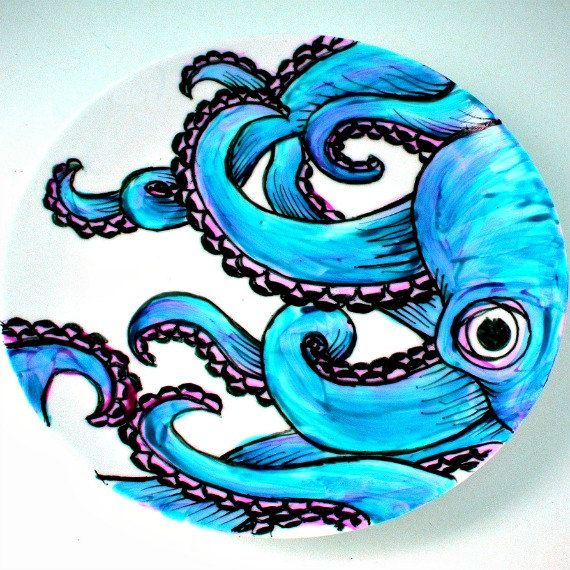 Octopus Plate Ceramic Turquoise Blue Kraken Sea Creature Nautical Decor Painted Tentacles Black White