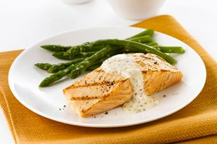Salmon with Mustard-Cream Sauce Recipe - substituted yogurt for cream cheese and added parsley. Was delish!