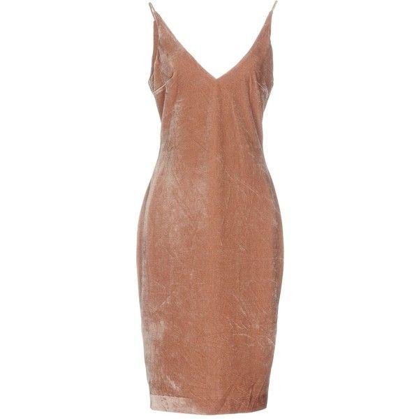 Keepsake® Knee-length Dress ($125) ❤ liked on Polyvore featuring dresses, pastel pink, deep v-neck dress, stretchy dresses, pastel dresses, zipper dress and pink pencil dress