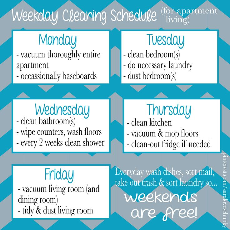 Weekly cleaning schedule for apartment living! #cleaning #apartment #college #apartmentlife