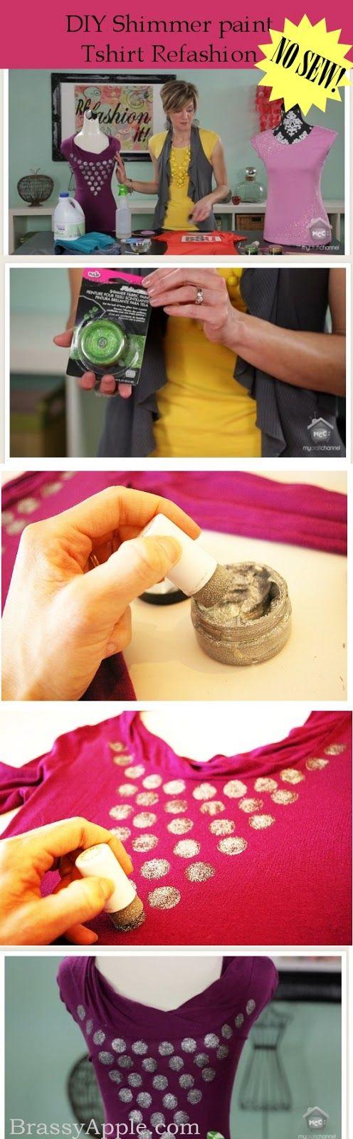 No #sew Tshirt #Refashion - brassyapple.com #fabricpaint