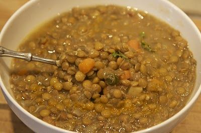 Carrabba's Spicy Sausage and Lentil Soup - My absolute favorite!