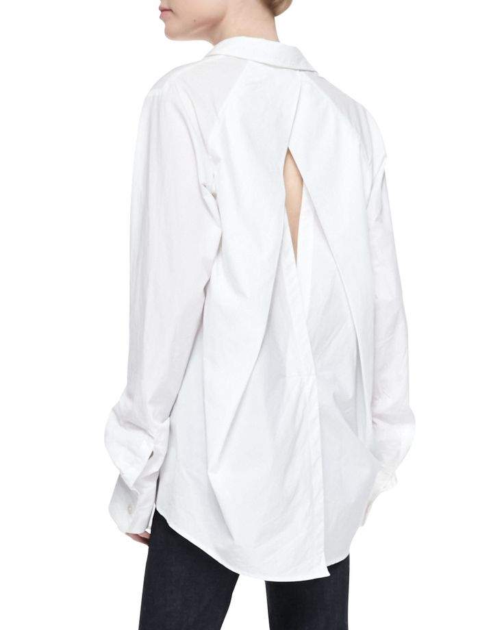 Contemporary Fashion - white shirt reinvented with cutout crossover back detail // Donna Karan
