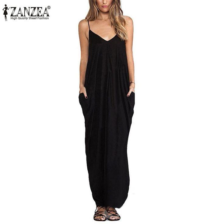 Fashion Vestidos  Summer Women Sexy V Neck Sleeveless Beach Dresses Ladies Casual Loose Long Maxi Dress Plus Size - Black, 4XL Great, huh? Get it here