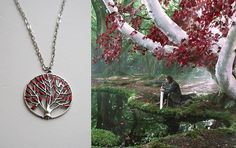 Heart Tree Necklace Game of Thrones Jewellery Summer Special Long Necklace Godswood Weirwood Hand Painted on Etsy, $13.64