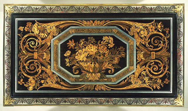 Andre Boulle Table Top, oak veneered with ebony, tortoiseshell, pewter, brass, ivory, horn, various stained and natural woods; gilt bronze mounts, ca.1680