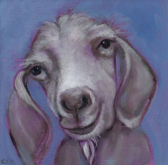 Gertie The Goat, Oil Painting, Goat Art, Farmhouse Decor