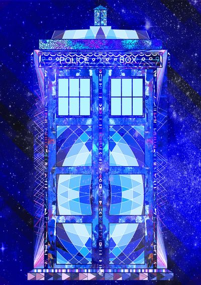 The Tardis by Fimbis what a beautiful stain glass that would make this would be an awesome baby quilt...wonder if merryann could make?