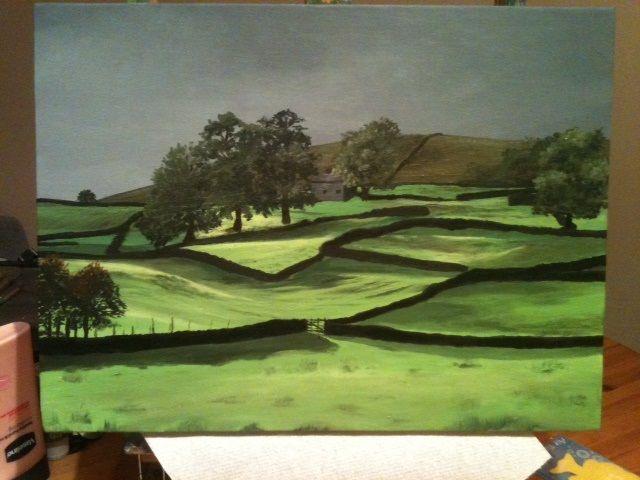 Acrylic painting of 'home', Yorkshire Dales.  www.katiestewartart.co.uk
