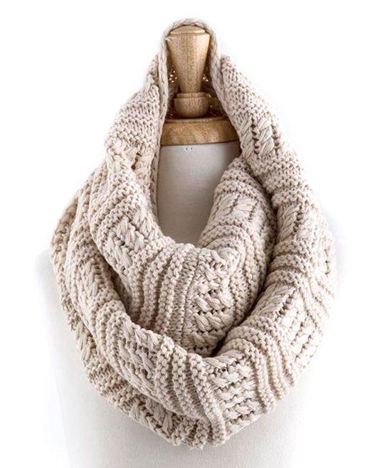 Oatmeal Sweater-Knit Infinity Scarf